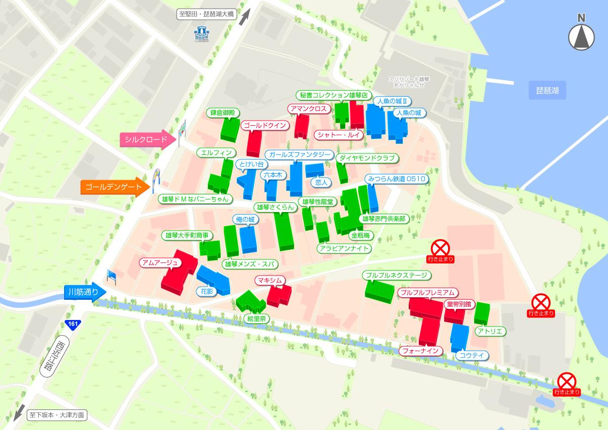 雄琴ソープランド街の地図