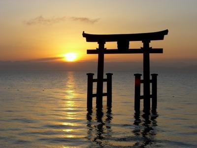 琵琶湖の初日の出
